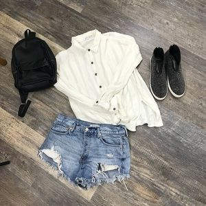 O Neill White Oversized Textured Top Blouse